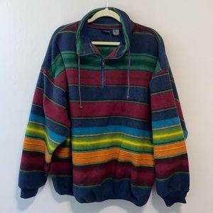 Vintage Boho Striped Oversized Fleece Sweatshirt